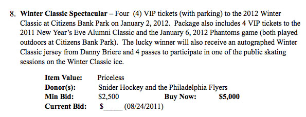 Flyers charity auction confirms NHL Winter Classic details