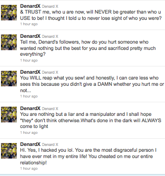 Someone got ahold of Denard Robinson's Twitter account, then got a little personal