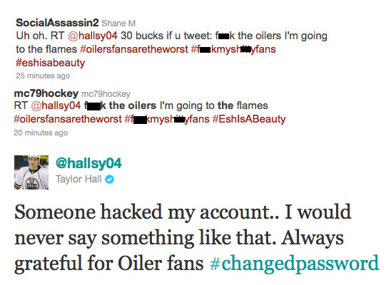 Taylor Hall says Twitter hacked, doesn't think Oilers fans are worst