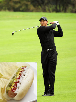Somebody threw a hot dog at Tiger Woods during a tournament