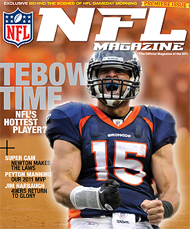 Tebow makes the debut cover of the NFL's new magazine