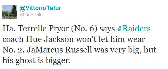 Raiders to Pryor: Jersey #2 has too many bad memories