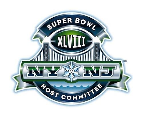 2014 Super Bowl logo features a snowflake, GW Bridge