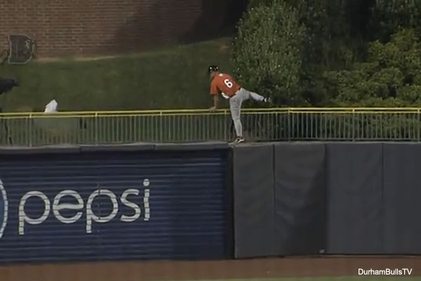 Video: Minor league manager climbs outfield fence in protest of call
