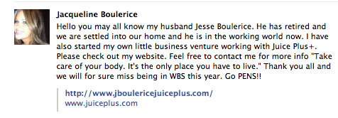 Jesse Boulerice's wife announces his retirement on Facebook