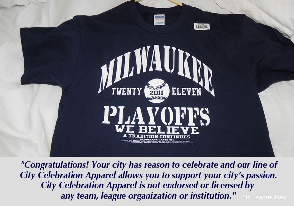 Top playoff gear is unlicensed Brewers T-shirt found at drug store