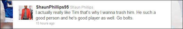 Shaun Phillips seems conflicted over his feelings for Tim Tebow