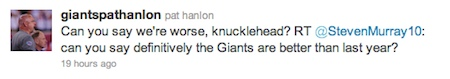 Giants PR chief lashes out at disgruntled fans on Twitter