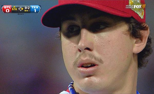 Derek Holland keeps house, mimics Washington, grows mustache