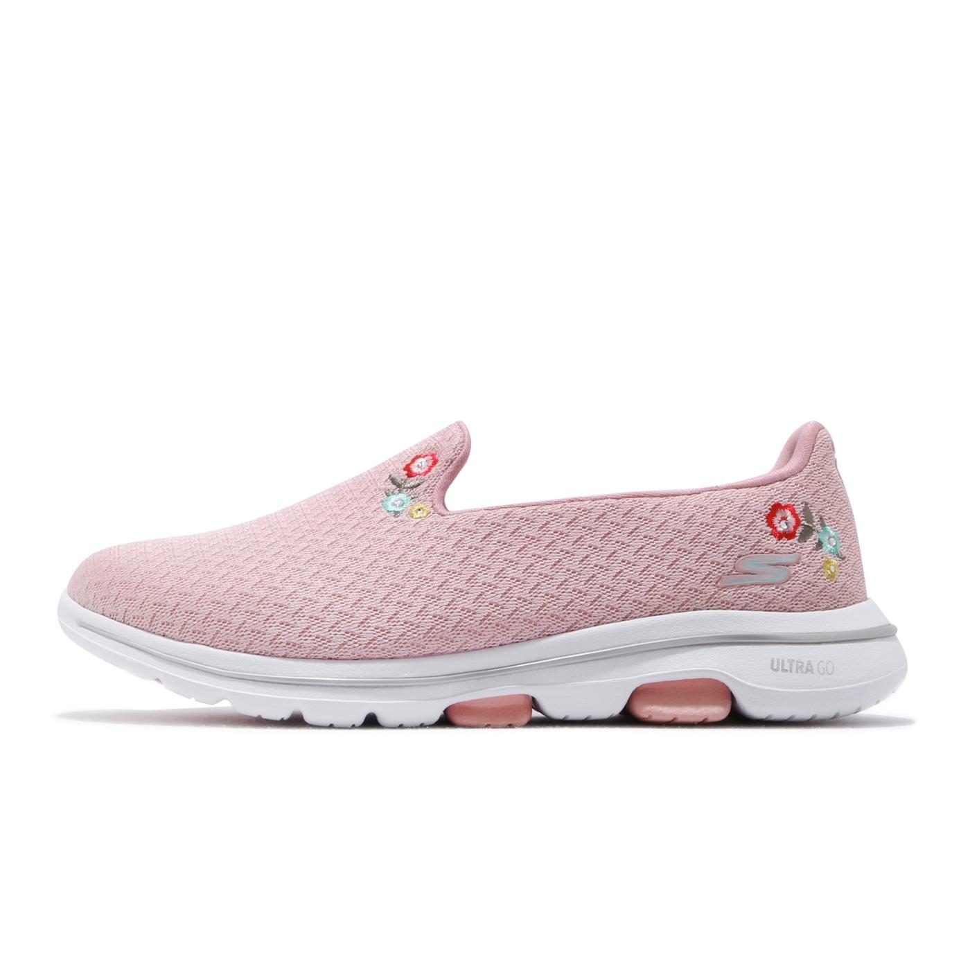 Skechers 休閒鞋 Go Walk 5 Garland 女鞋 寬楦 健走 郊遊 踏青 懶人鞋 好穿脫 粉 白 124002WPNK