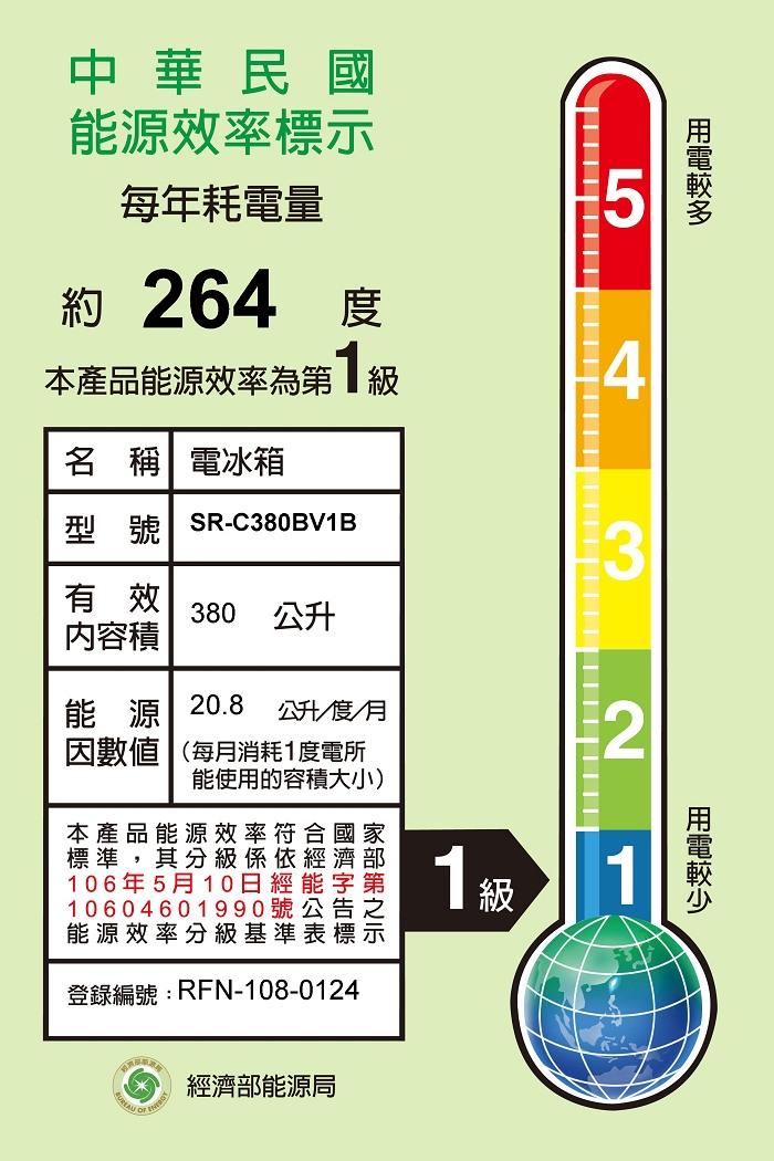 SANLUX台灣三洋380L 變頻雙門電冰箱 SR-C380BV1B 另有SR-C480B1B SR-C480BV1A