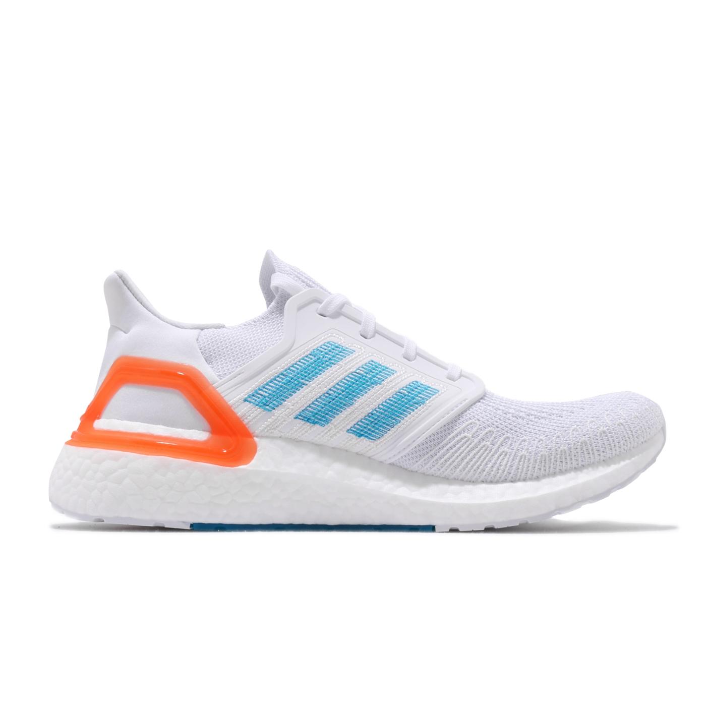adidas 慢跑鞋 ULTRABOOST 20 襪套式 男鞋 愛迪達 運動休閒 緩震 輕量 穿搭 白 藍 橘 EG0768