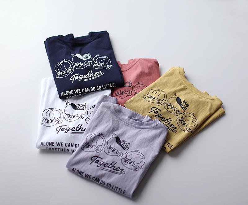 純棉卡通印花圓領 T恤寬鬆休閒韓版短袖上衣-設計所在