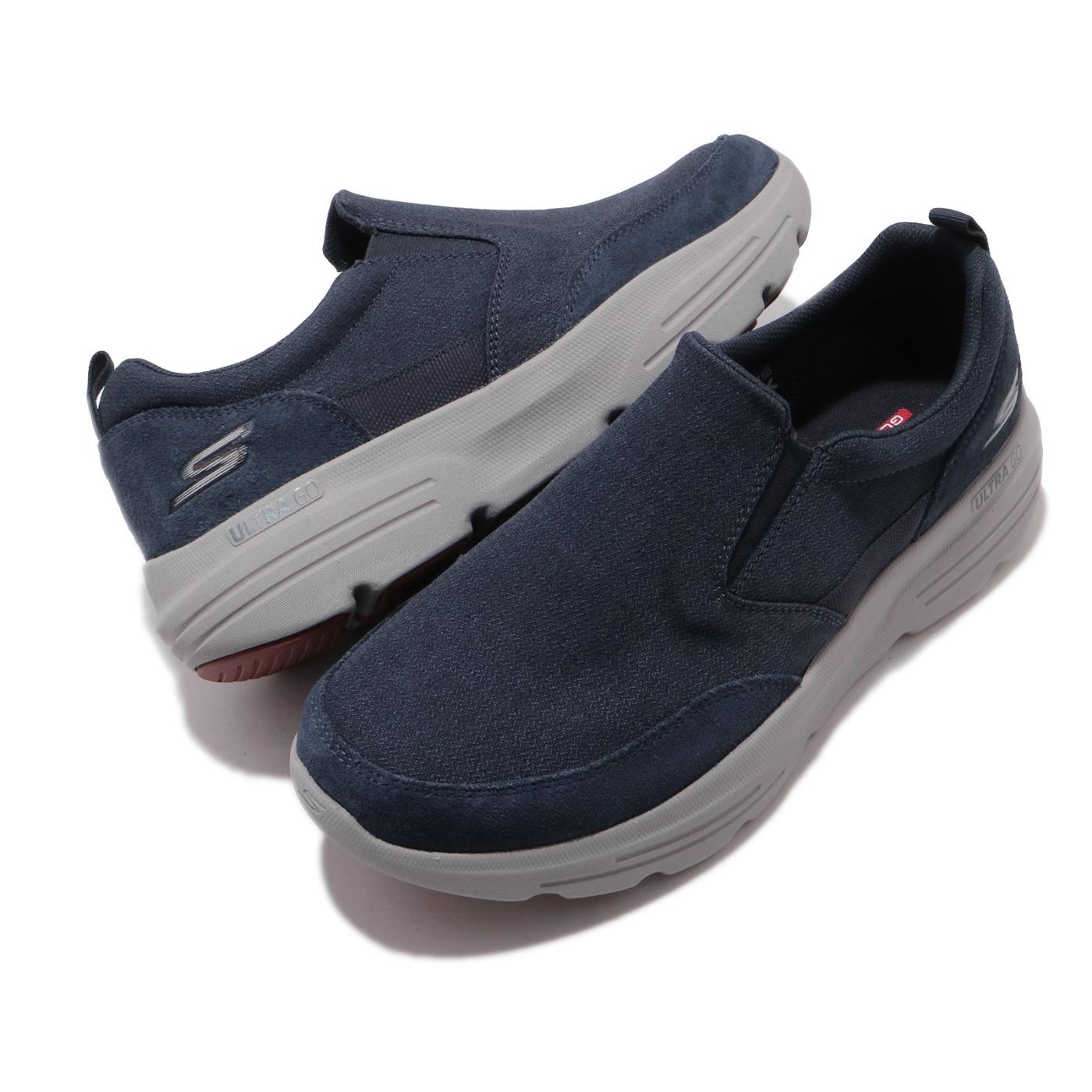 Skechers 休閒鞋 Go Walk Duro 套入式 男鞋 踏青 健走 外出 輕便 好穿脫 懶人鞋 藍 灰 216008NVGY