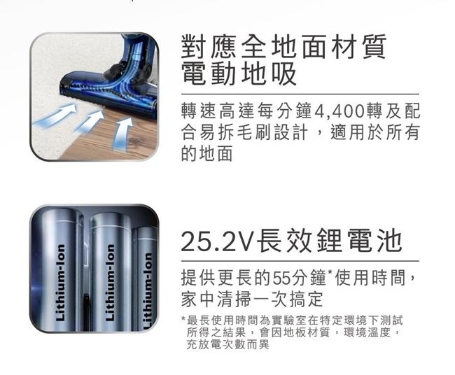 Bosch 淨擊二合一直立式無線吸塵器 BCH3252TW 極致銀