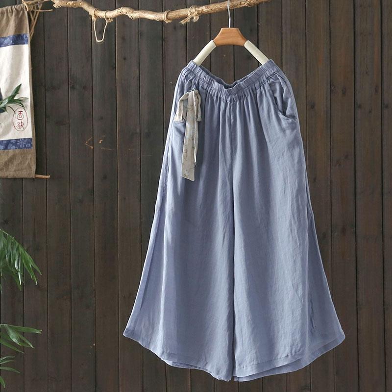 復古亞麻繫帶鬆緊腰寬鬆休閒七分褲子-設計所在
