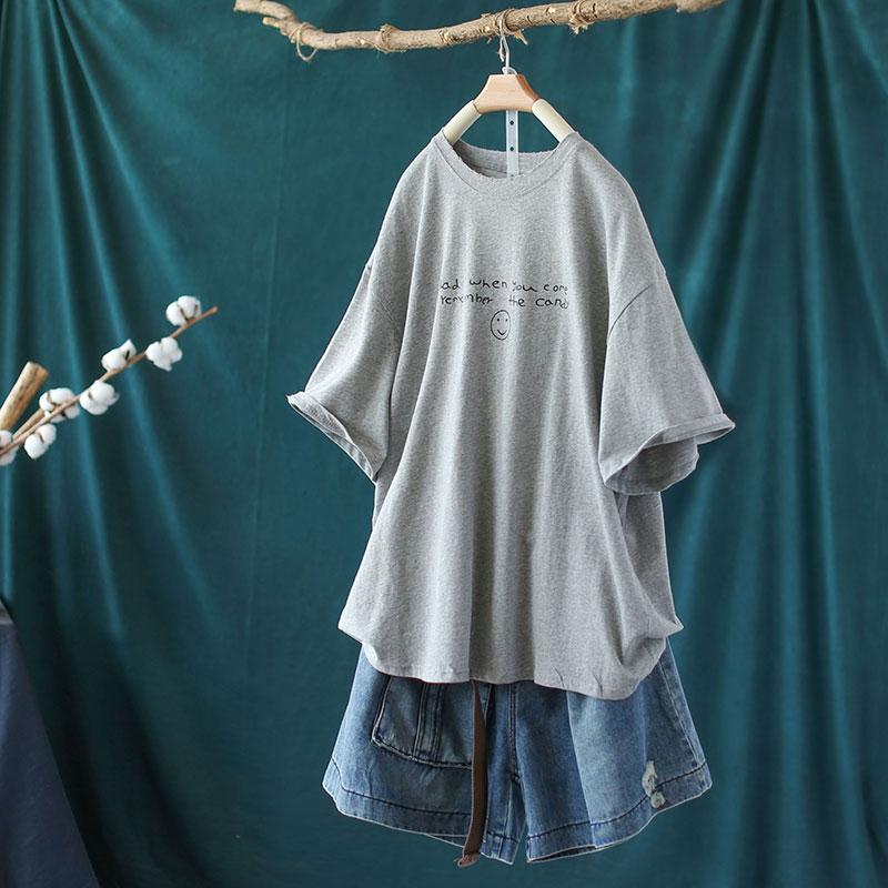 新款純棉字母印花圓領T恤寬鬆中長版短袖上衣-設計所在
