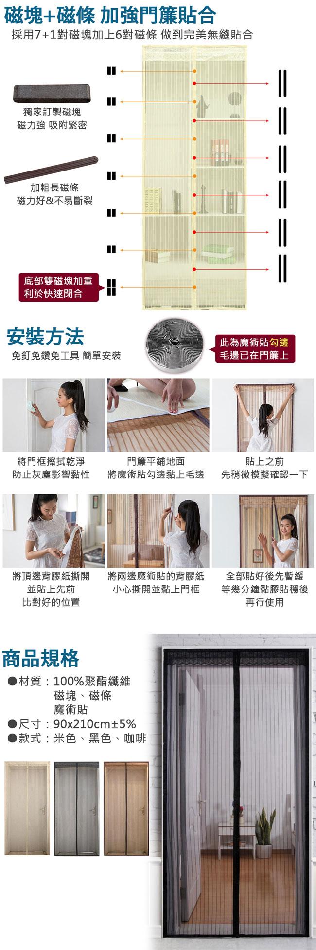 EZlife 魔術貼超靜音磁性防蚊門簾(3款)