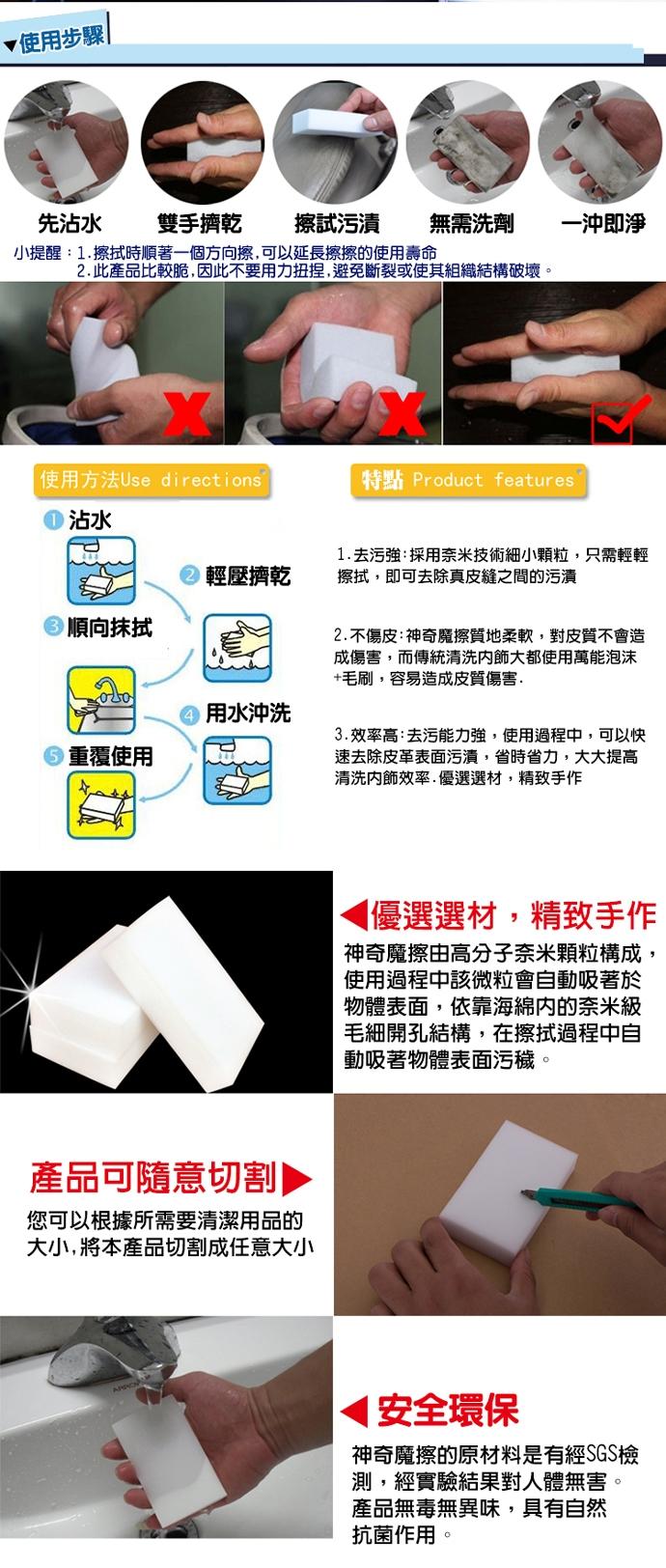 強力去汙奈米科技海綿(1組50片)