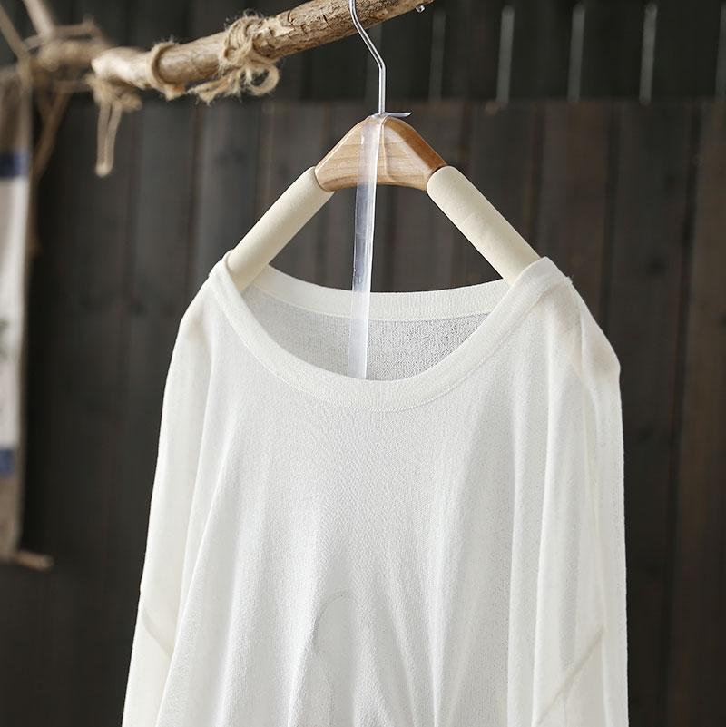 冰絲抽繩圓領長袖T恤寬鬆慵懶防曬上衣-設計所在