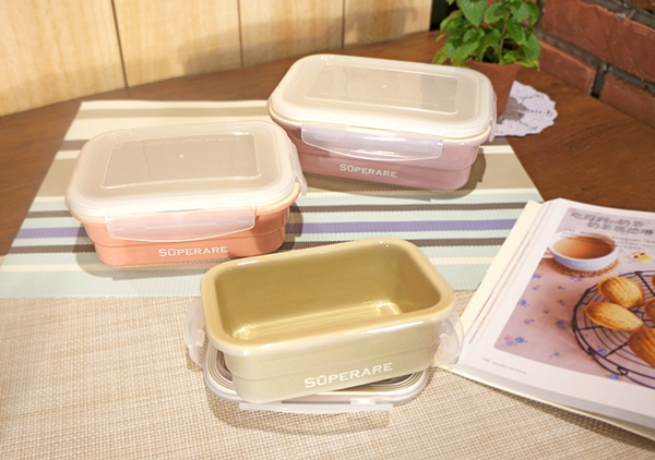 Superare 鑄瓷可微波保鮮盒-方型-300ml-3入組