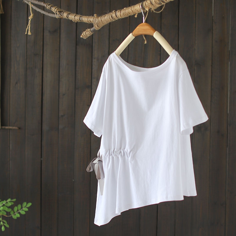 純棉抽繩收腰顯瘦T恤寬鬆韓版不規則短袖上衣-設計所在