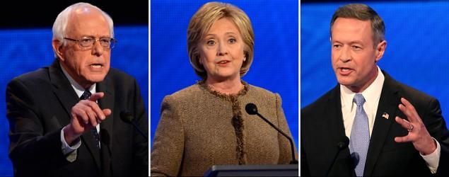 Bernie Sanders, Hillary Clinton, and Martin O'Malley. (Ida Mae Astute/ABC via Getty Images; Andrew Burton/Getty Images)