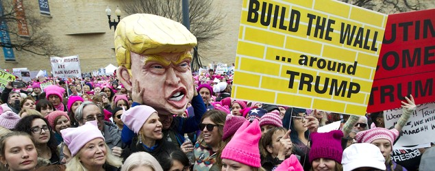 Protesters gather for the Women's March on Washington during the first full day of Donald Trump's presidency. (Jose Luis Magana/AP)
