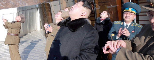 Released by North Korean TV, this photo purports to show Kim Jong Un watching a recent rocket launch. (Kyodo/Reuters)