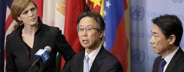 Japan's ambassador to the U.N., Motohide Yoshikawa, speaks to the media following a Security Council meeting. (Mark Lennihan/AP)