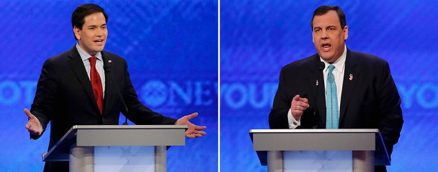 Marco Rubio gets rattled by Chris Christie's attacks. (Getty Images)