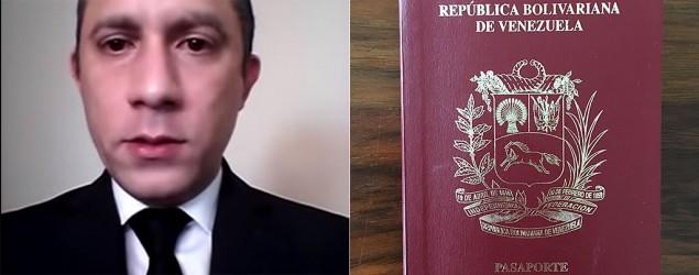 Captura de un video de YouTube en el que Misael López hace su denuncia pública/ Foto de un pasaporte venezolano/Yahoo Noticias