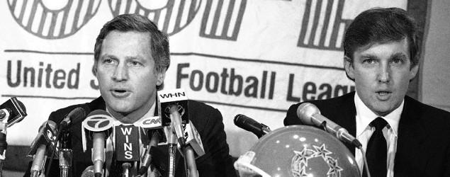 USFL Commissioner Harry L. Usher with Donald Trump in 1985. (Marty Lederhandler/AP)