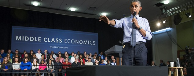 President Barack Obama answers questions from audience members during an event at Ivy Tech Community College. (Evan Vucci/AP)