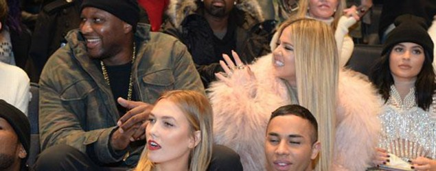 Khloe Kardashian and Lamar Odom at Kanye West's fashion show. (Getty Images)