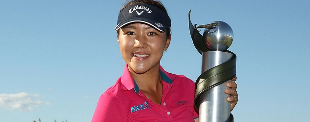 Getty Images - Lydia Ko hold the New Zealand Open trophy