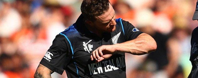 Brendon McCullum inspects the damage after being hit by a Mitchell Johnson delivery during the 2015 ICC Cricket World Cup match at Eden Park on February 28, 2015. Mark Kolbe/Getty image.