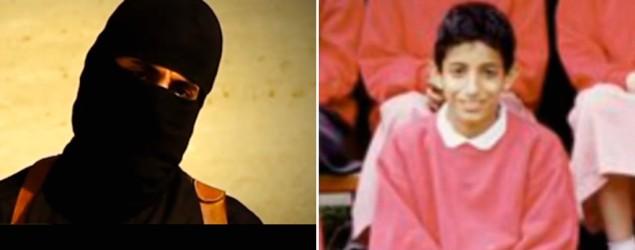 From left, Mohammed Emwazi as Jihadi John and as a boy (GMA)
