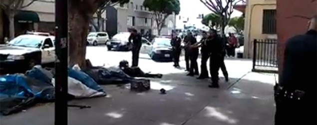 Video shows police shooting homeless man . Photo: YouTube