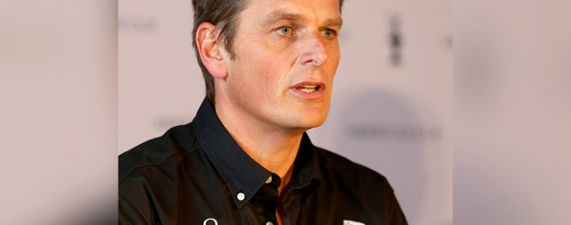 Dean Barker speaks to the press during the Americas Cup press conference to promote the 35th america's cup at St. Pancras Renaissance hotel on September 9, 2014 in London, England. (Photo by Ian Walton/Getty Images)