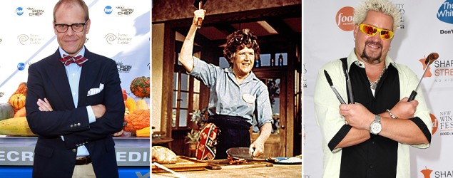 Alton Brown, Julia Child, Guy Fieri (Charles Eshelman/Getty Images, Everett Collection, Mike Coppola/Getty Images)