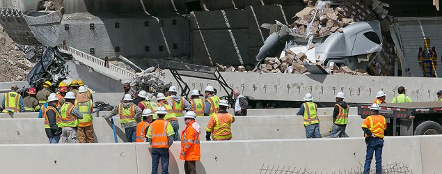 A bridge has collapsed in Salado, TX, over I-35. (AP Photo/Austin American-Statesman, Ralph Barrera)