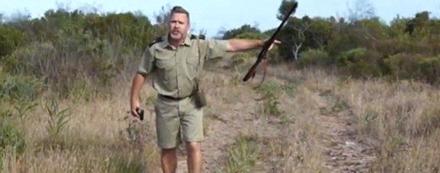 Fed-up safari guide deserts tourists. (Grind)