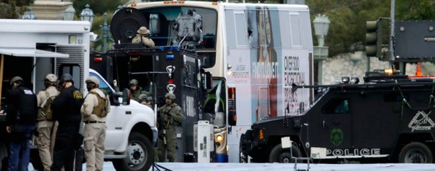 The gunman barricaded himself inside the vehicle following the shooting