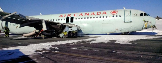 An Air Canada Airbus A-320 skidded off the runway at Halifax International Airport. (AFP)
