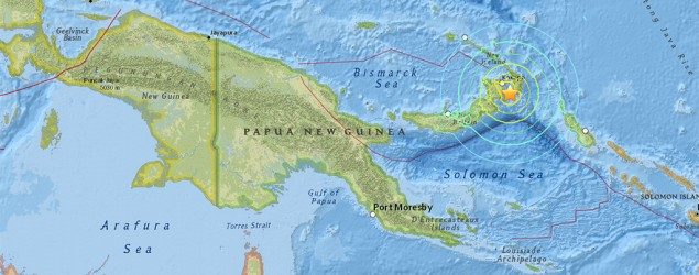 Major earthquake strikes near Papua New Guinea . Photo: USGS