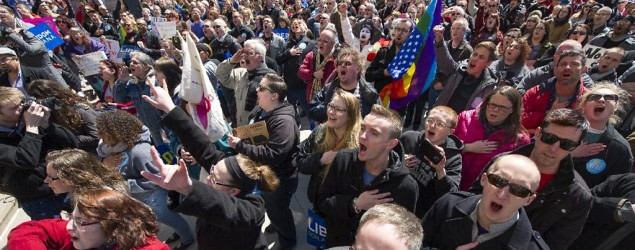 Thousands of opponents of Indiana Senate Bill 101, the Religious Freedom Restoration Act (Doug McSchooler/AP)