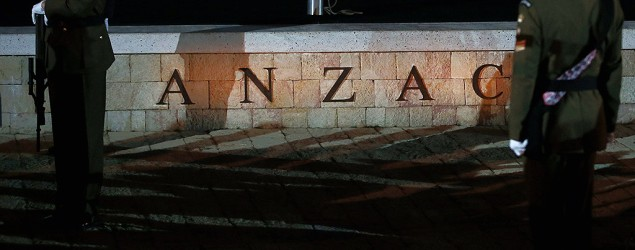 NZAC soldiers stand during the Dawn Service at the Anzac Commemorative Site, North Beach, in Gallipoli, Turkey