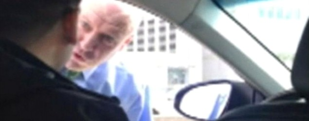 Detective caught on video berating Uber driver. (GMA)