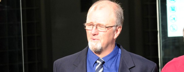 Mark Lundy outside the High Court in Wellington on Tuesday March 31, 2015, the day before his second guilty verdict. SNPA image.